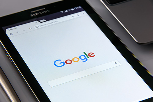 Google Search Engine loaded in a browser on a samsung tablet